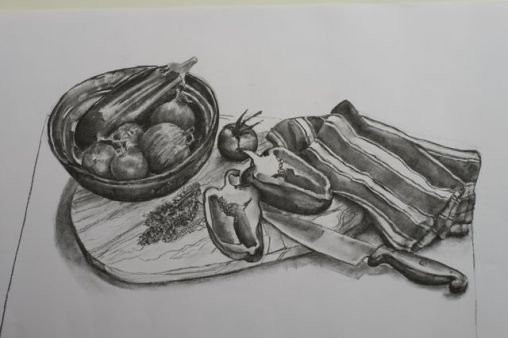 charcoal still life exercise