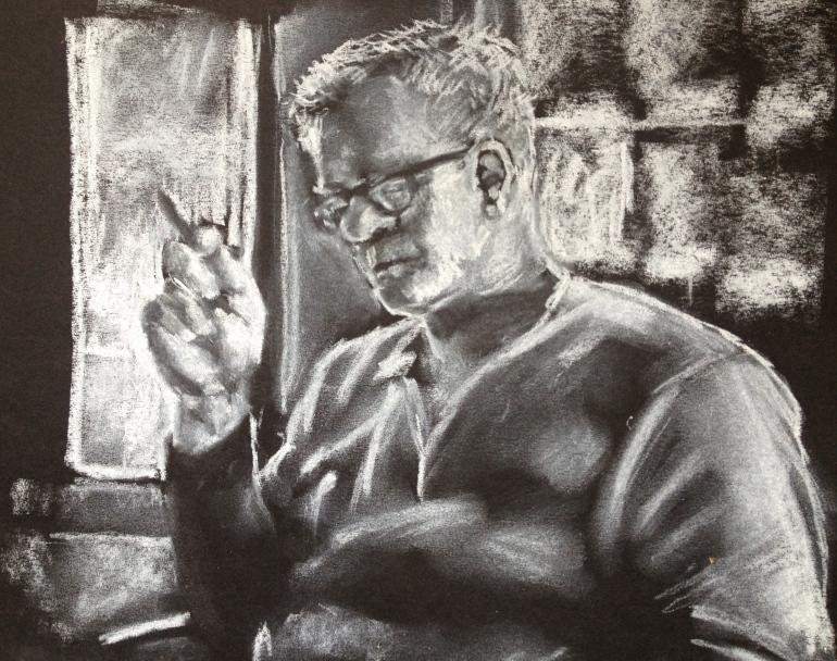 white chalk drawing