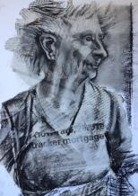 Conte crayon over collage