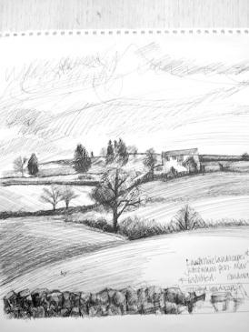 Landscape drawing (Barley, Lancashire)