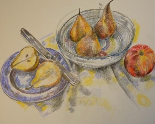 Graphite and crayon sketch
