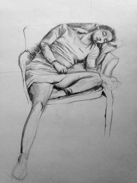 Charcoal sketch of clothed body