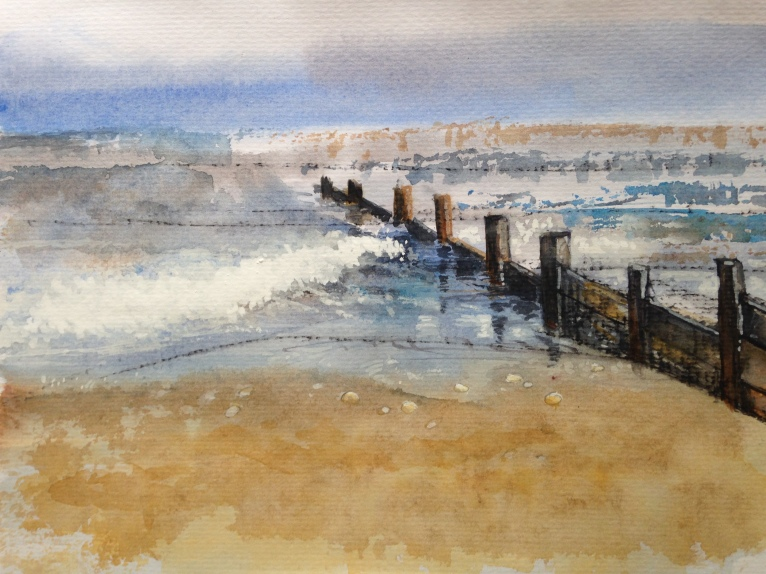 End of the day: watercolour and charcoal