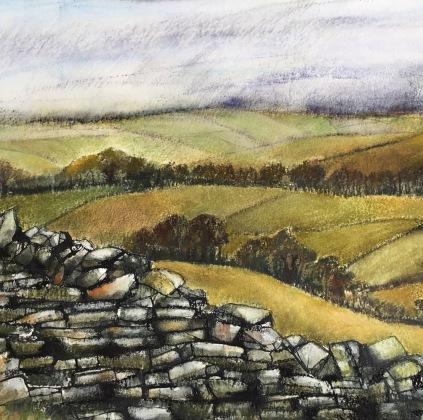 Lancashire Patchwork I, Pastels and inks