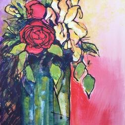 Yellow Iris, acrylics
